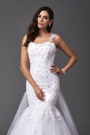 Wide Straps Long Sweep Train Natural Waist Wedding Dress - 5