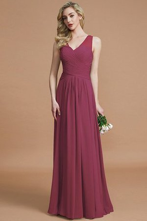 Natural Waist Floor Length A-Line V-Neck Bridesmaid Dress - 10