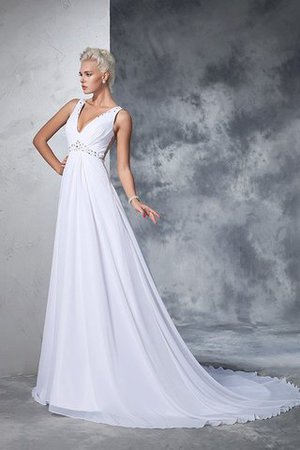 Cathedral Train Natural Waist A-Line Chiffon Wedding Dress - 5