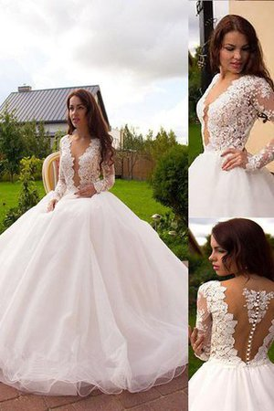 Court Train Natural Waist V-Neck Tulle Long Sleeves Wedding Dress - 1
