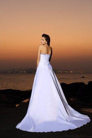 Chapel Train Strapless Empire Waist Beach Satin Wedding Dress - 2