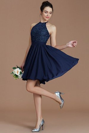 A-Line Short Halter Natural Waist Bridesmaid Dress - 16