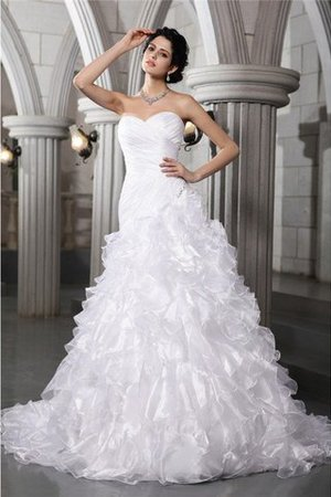 Lace-up Sleeveless Long Pleated Chapel Train Wedding Dress - 1