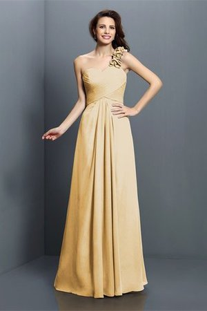 Zipper Up One Shoulder Chiffon A-Line Bridesmaid Dress - 12