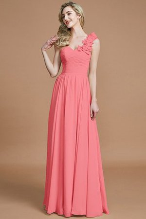 Sleeveless Natural Waist One Shoulder A-Line Chiffon Bridesmaid Dress - 34
