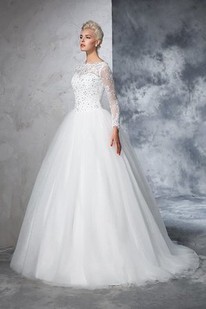 Sweep Train Long Zipper Up Ball Gown Long Sleeves Wedding Dress - 6