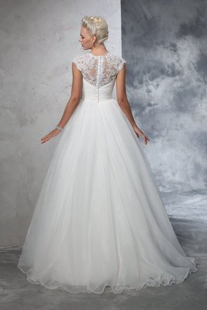 Ruched Long Empire Waist Sweep Train Ball Gown Wedding Dress - 2