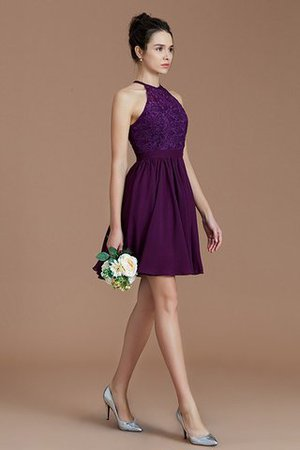 A-Line Short Halter Natural Waist Bridesmaid Dress - 5