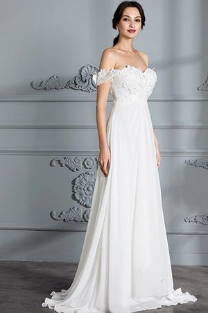 Sleeveless Chiffon Natural Waist Off The Shoulder Floor Length Wedding Dress - 5