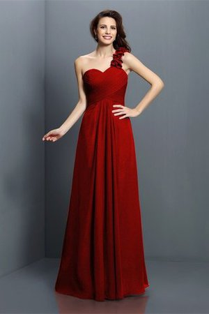 Zipper Up One Shoulder Chiffon A-Line Bridesmaid Dress - 23