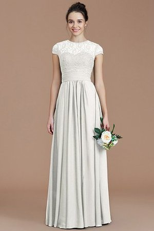 Chiffon Floor Length A-Line Jewel Short Sleeves Bridesmaid Dress - 23
