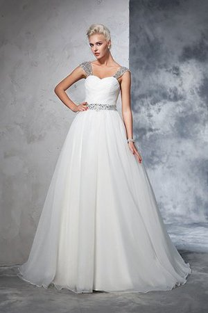 Ball Gown Spaghetti Straps Sleeveless Ruched Empire Waist Wedding Dress - 3