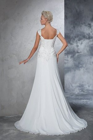 Empire Waist Court Train Sleeveless Chiffon Wide Straps Wedding Dress - 2