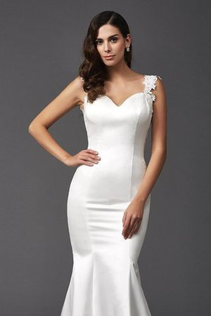 Mermaid Satin Wide Straps Sweep Train Natural Waist Wedding Dress - 7