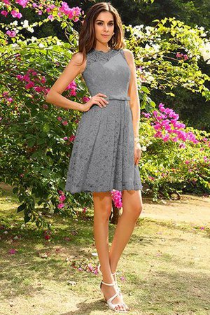 Knee Length Natural Waist Scoop Lace Elastic Woven Satin Bridesmaid Dress - 27