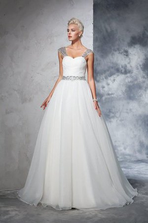 Ball Gown Spaghetti Straps Sleeveless Ruched Empire Waist Wedding Dress - 1