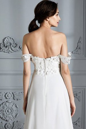 Sleeveless Chiffon Natural Waist Off The Shoulder Floor Length Wedding Dress - 8