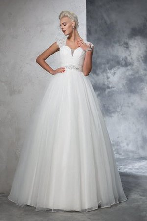 Ruched Long Empire Waist Sweep Train Ball Gown Wedding Dress - 1