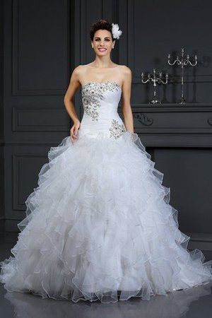 Chapel Train Beading Lace-up Sleeveless Organza Wedding Dress - 1