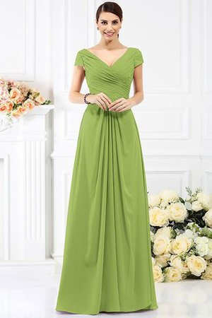 Long Empire Waist Pleated A-Line Short Sleeves Bridesmaid Dress - 14