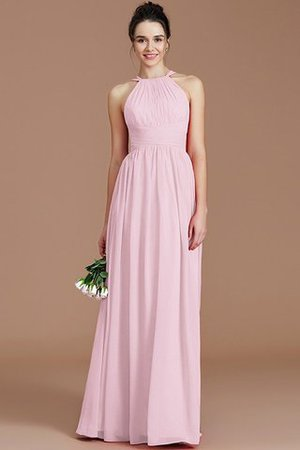 Ruched Floor Length Chiffon Natural Waist Halter Bridesmaid Dress - 32