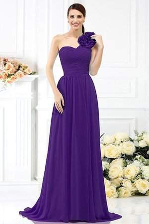 Chiffon A-Line One Shoulder Long Flowers Bridesmaid Dress - 24
