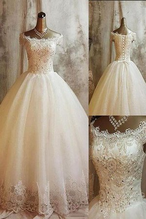 Ball Gown Off The Shoulder Sleeveless Tulle Natural Waist Wedding Dress - 1