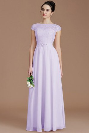 Floor Length Lace Chiffon Natural Waist Zipper Up Bridesmaid Dress - 24