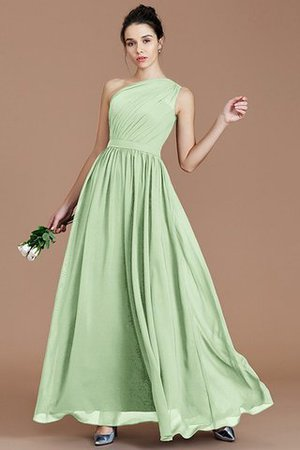 Floor Length Natural Waist Chiffon Ruched One Shoulder Bridesmaid Dress - 30