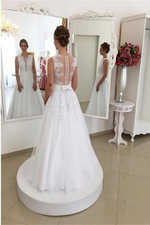 Sleeveless Sweep Train Natural Waist Tulle Princess Wedding Dress - 2