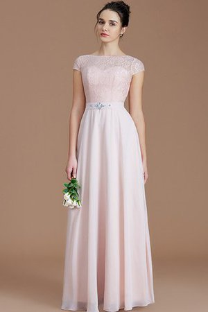 Floor Length Lace Chiffon Natural Waist Zipper Up Bridesmaid Dress - 1