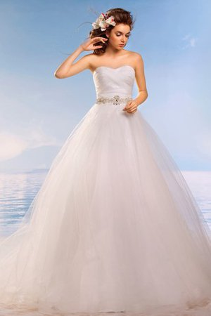 Ball Gown Beach Lace-up Court Train Tulle Wedding Dress - 1
