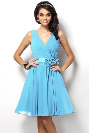 Draped A-Line V-Neck Natural Waist Bridesmaid Dress - 3