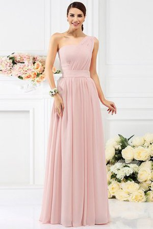 Pleated Long A-Line One Shoulder Bridesmaid Dress - 21