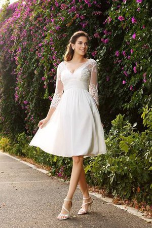 V-Neck A-Line Knee Length 3/4 Length Sleeves Wedding Dress - 1