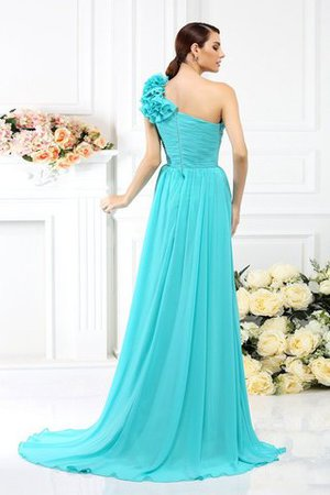 Chiffon A-Line One Shoulder Long Flowers Bridesmaid Dress - 30