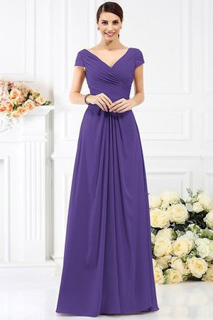 Long Empire Waist Pleated A-Line Short Sleeves Bridesmaid Dress - 24
