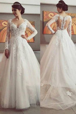 Lace Natural Waist V-Neck Ball Gown Tulle Wedding Dress - 1