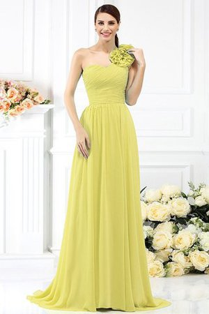 Chiffon A-Line One Shoulder Long Flowers Bridesmaid Dress - 8