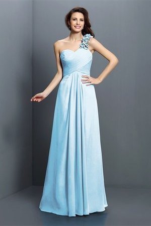 Zipper Up One Shoulder Chiffon A-Line Bridesmaid Dress - 18