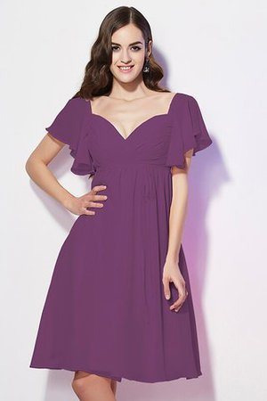 Ruffles Knee Length Short Sleeves Sweetheart Bridesmaid Dress - 5