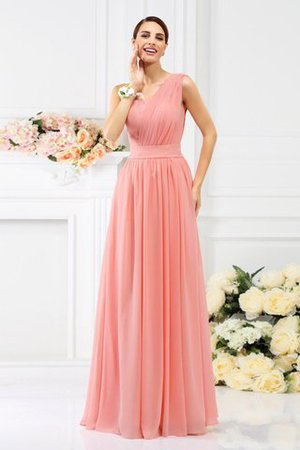Pleated Long A-Line One Shoulder Bridesmaid Dress - 1