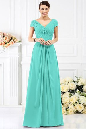 Long Empire Waist Pleated A-Line Short Sleeves Bridesmaid Dress - 15