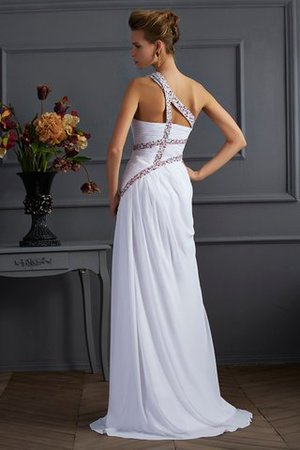Sheath Sweep Train Long One Shoulder Beading Prom Dress - 2