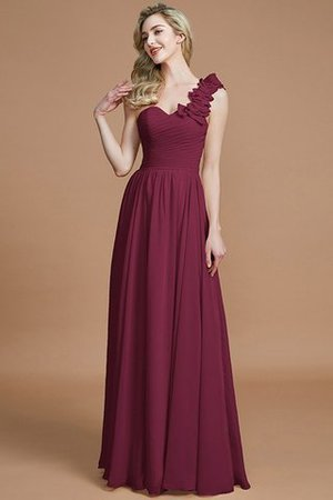 Sleeveless Natural Waist One Shoulder A-Line Chiffon Bridesmaid Dress - 10