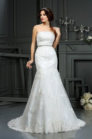 Zipper Up Mermaid Natural Waist Long Lace Wedding Dress - 1