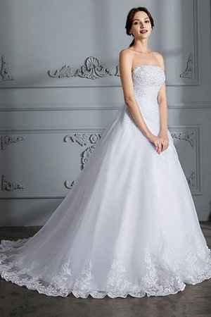 Ball Gown Natural Waist Organza Sleeveless Court Train Wedding Dress - 5