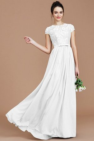 A-Line Jewel Lace Short Sleeves Bridesmaid Dress - 35