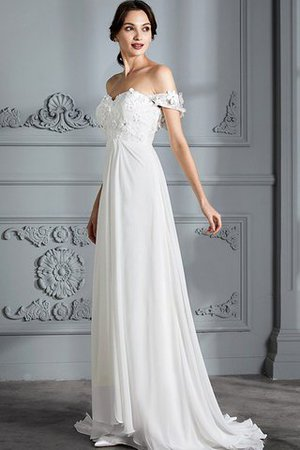 Sleeveless Chiffon Natural Waist Off The Shoulder Floor Length Wedding Dress - 6