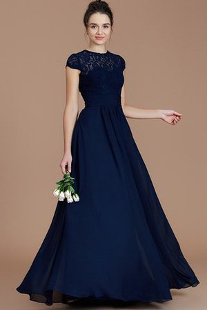 Chiffon Floor Length A-Line Jewel Short Sleeves Bridesmaid Dress - 6